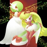 artist_name bow character_name colored_skin commentary_request footwear_bow gardevoir gen_3_pokemon gen_7_pokemon mega_gardevoir mega_pokemon orange_eyes pokemon pokemon_(creature) sasabunecafe shoe_removed standing tsareena violet_eyes white_footwear white_skin