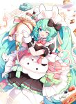 1girl ;d animal animal_ears apron aqua_eyes bangs black_dress bow cake cake_slice car collar commentary_request detached_collar dress eighth_note eyebrows_visible_through_hair fake_animal_ears feet_out_of_frame food frilled_dress frills fruit gloves green_hair ground_vehicle hatsune_miku hehehzb highres holding knees_together_feet_apart motor_vehicle musical_note one_eye_closed open_mouth pantyhose pastry_bag plate pleated_dress puffy_short_sleeves puffy_sleeves quarter_note rabbit rabbit_ears red_bow short_sleeves smile solo strawberry treble_clef vocaloid white_apron white_collar white_gloves white_headwear white_legwear wing_collar