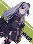 1girl 404_(girls_frontline) absurdres assault_rifle bangs bei_hua beret dutch_angle german_flag girls_frontline gloves green_background green_eyes grey_background gun h&k_hk416 hat headgear heckler_&_koch highres hk416_(girls_frontline) id_card long_hair looking_at_viewer military_jacket multicolored multicolored_background official_alternate_costume rifle silver_hair solo thigh_strap weapon white_hair
