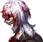 1boy ahoge black_sclera blood blood_in_hair blood_on_clothes blood_on_face colored_sclera fang fangs fangs_out game_cg grey_hair horror_(theme) long_hair lowres medium_hair official_art open_mouth portrait red_eyes silver_hair solo takeuchi_takashi transparent_background tsukihime tsukihime_(remake) vampire vlov_arkhangel white_hair