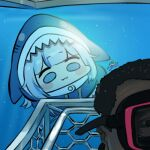 1boy 1girl :3 animal_costume blue_eyes blue_hair cage chibi diving gawr_gura hololive hololive_english jazz_jack looking_at_another lowres multicolored_hair photo-referenced scuba_gear shark_costume shark_girl signature swimming underwater water white_hair