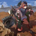 1girl animal_ears arknights axe bear_ears black_collar black_footwear black_jacket blue_eyes blue_headwear blue_skirt boots brown_hair chinese_commentary collar commentary_request fire_hydrant full_body ground_vehicle hat headlight highres holding holding_axe hongbaise_raw jacket long_hair looking_at_viewer motor_vehicle motorcycle multicolored_hair official_alternate_costume open_clothes open_jacket outdoors pantyhose pleated_skirt red_legwear redhead skirt standing streaked_hair zima_(arknights) zima_(ready_to_go)_(arknights)