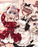 2girls :d apron armpits bangs bare_shoulders black_dress blue_eyes brown_hair chabatake closed_mouth cup cupcake curtains dress food frilled_dress frills hair_between_eyes hair_over_one_eye hair_ribbon hand_up holding holding_tray homu_(honkai_impact) honkai_(series) honkai_impact_3rd indoors long_hair long_sleeves looking_at_viewer maid maid_apron maid_headdress multiple_girls open_mouth red_dress ribbon rita_rossweisse short_hair smile teacup teapot theresa_apocalypse tray violet_eyes white_hair window