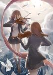 2girls back bangs black_legwear bow bowtie candy_(pixiv15231759) closed_eyes clouds highres holding holding_instrument instrument multiple_girls music original paper playing_instrument ribbon school_uniform skirt standing standing_on_liquid sunlight thigh-highs violin water_surface wind
