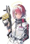 1girl arknights belt black_sleeves bracer closed_mouth commentary energy_wings exusiai_(arknights) gun hair_over_one_eye halo highres holding holding_gun holding_weapon id_card jacket kriss_vector long_sleeves looking_at_viewer nanaponi one_eye_covered orange_eyes redhead short_hair simple_background sleeves_rolled_up smile solo submachine_gun upper_body weapon white_background white_jacket