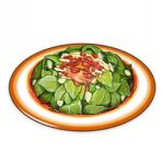 artist_request chili_pepper commentary english_commentary food food_focus genshin_impact leaf lowres mint no_humans official_art plate salad still_life third-party_source transparent_background