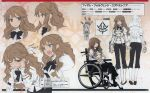 1girl absurdres artbook black_bow blue_eyes bow bowtie brown_hair chair character_name character_profile character_sheet expressions fate/apocrypha fate_(series) fiore_forvedge_yggdmillennia highres konoe_ototsugu magazine_scan multiple_views official_art profile scan shouting sitting tearing_up turnaround wheelchair