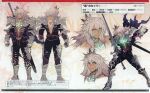 1boy absurdres armor artbook character_name character_profile character_sheet dark-skinned_male dark_skin expressions fate/apocrypha fate_(series) gauntlets glowing_tattoo green_eyes grey_hair highres holding holding_sword holding_weapon konoe_ototsugu long_hair magazine_scan male_focus metal_boots multiple_views official_art plunging_neckline scan shoulder_armor siegfried_(fate) sword weapon