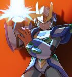 1boy android arm_cannon armor closed_mouth commentary_request energy gloves glowing green_eyes hand_on_own_arm hand_up helmet highres hoshi_mikan male_focus mega_man_(series) mega_man_x6 mega_man_x_(character) mega_man_x_(series) red_background red_gloves robot_ears serious shadow shoulder_armor simple_background solo standing weapon