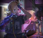 2girls android arrest blurry blurry_background commentary cyborg highres holding ichiyon mecha mechanical_arms multiple_girls neon_lights night orange_hair original outdoors police ponytail science_fiction single_mechanical_arm