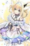 1girl animal_ears arknights bare_shoulders belt belt_pouch black_gloves blonde_hair blue_hairband closed_mouth commentary dress earpiece eyebrows_visible_through_hair falling_petals feet_out_of_frame fox_ears fox_girl fox_tail from_above gloves green_eyes hair_rings hairband highres kyuubi long_hair looking_at_viewer multiple_tails nanaponi off-shoulder_dress off_shoulder own_hands_together petals pouch short_sleeves single_glove smile solo standing suzuran_(arknights) tail utility_belt white_background white_dress wrist_cuffs