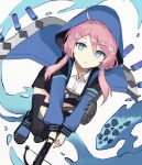 1girl :o antenna_hair arknights bangs black_footwear black_legwear black_shorts blue_eyes blue_jacket blue_poison_(arknights) exion_(neon) from_above hair_between_eyes holding_crossbow jacket long_hair looking_at_viewer open_mouth pink_hair shoes short_twintails shorts simple_background solo thigh-highs twintails water white_background