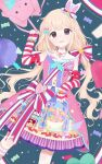 1girl animal_bag arm_ribbon bag blonde_hair blush bow bunny_bag candy_hair_ornament candy_print cowboy_shot dress dutch_angle food-themed_hair_ornament futaba_anzu hair_bow hair_ornament highres holding holding_bag idolmaster idolmaster_cinderella_girls idolmaster_cinderella_girls_starlight_stage light_smile looking_at_viewer name_tag neck_ribbon print_dress red_ribbon ribbon sash sleeveless sleeveless_dress solo tsuchi_(sh_spica1) twintails