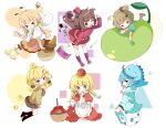 >_< 6+girls :3 ;d animal apple apron basket bird black_legwear black_shorts blonde_hair blue_hair blue_legwear blue_shirt blush boots brown_eyes brown_hair brown_skirt brown_sweater candy chibi chick closed_eyes closed_mouth commentary crack cracked_egg dress drum drumsticks egg food frilled_apron frills fruit fur-trimmed_boots fur_trim green_eyes hand_in_pocket hat highres holding holding_animal holding_candy holding_food holding_lollipop instrument jacket kneebar kneehighs lollipop long_hair long_sleeves low_twintails mini_hat multiple_girls one_eye_closed open_mouth original pleated_skirt puffy_long_sleeves puffy_short_sleeves puffy_sleeves purple_footwear red_apple red_dress red_headwear red_jacket red_skirt shirt short_shorts short_sleeves shorts shorts_under_skirt skirt smile striped striped_legwear suspender_skirt suspenders sweater swirl_lollipop symbol-only_commentary thigh-highs tsukiyo_(skymint) twintails two_side_up very_long_hair white_apron white_background white_shirt yellow_footwear