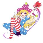 1girl american_flag_dress american_flag_legwear blonde_hair blush caramell0501 clownpiece dress eyebrows_visible_through_hair fairy fairy_wings frilled_shirt_collar frills full_body hat highres jester_cap long_hair neck_ruff open_mouth pantyhose polka_dot_headwear simple_background star_(symbol) star_print torch touhou unfinished v very_long_hair violet_eyes wings