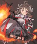 1girl :o antenna_hair arknights bangs black_legwear brown_background brown_hair cape dress exion_(neon) eyjafjalla_(arknights) fire gas_mask hair_between_eyes holding holding_staff horns looking_at_viewer mask medium_hair open_mouth purple_cape purple_dress simple_background solo staff thigh-highs violet_eyes