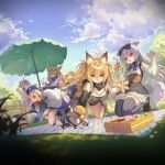 5girls animal_ears animal_hands artist_request bag bento blonde_hair bow cat_ears cat_girl clouds cloudy_sky de_lisle_(girls_frontline) drill_hair fleeing food furry girls_frontline grass hair_between_eyes hair_bow hat highres ice_cream_cone kneeling long_hair minigirl mk_12_(girls_frontline) mouse_ears mouse_girl multiple_girls official_art open_mouth outdoors parasol picnic pig_ears pig_girl pm-9_(girls_frontline) red_eyes sky tabuk_(girls_frontline) tail thigh-highs tokarev_(girls_frontline) umbrella yellow_eyes