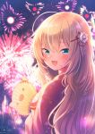 1girl :d aerial_fireworks akai_haato bangs blue_eyes blush commentary_request eyebrows_visible_through_hair fang fireworks floral_print from_behind haaton_(akai_haato) hair_between_eyes hair_ornament hand_fan heart heart_print highres hololive japanese_clothes kimono light_particles long_hair looking_at_viewer looking_back magowasabi open_mouth paper_fan print_kimono red_kimono signature skin_fang sky smile solo twitter_username uchiwa upper_body virtual_youtuber
