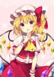 1girl :d absurdres bangs blonde_hair bow collar commentary_request cowboy_shot crystal eyebrows_visible_through_hair fang finger_to_mouth flandre_scarlet frilled_collar frilled_sleeves frills hat hat_bow highres looking_at_viewer mob_cap one_side_up open_mouth puffy_short_sleeves puffy_sleeves red_bow red_eyes red_skirt red_vest ruhika shirt short_sleeves skirt skirt_set smile solo touhou vest white_headwear white_shirt wings wrist_cuffs yellow_neckwear