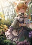 1girl absurdres animal_ear_fluff animal_ears arknights bangs bare_shoulders belt_pouch black_gloves blonde_hair blue_headband dress earpiece fox_ears fox_tail frilled_dress frills gloves green_eyes greenhouse hair_between_eyes hair_rings halterneck headband highres holding id_card infection_monitor_(arknights) kyuubi leaf looking_at_viewer multiple_tails off-shoulder_dress off_shoulder oripathy_lesion_(arknights) plant pouch purple_dress shoa_tksm single_glove solo suzuran_(arknights) tail watering_can wrist_cuffs