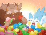 berry_(pokemon) closed_eyes commentary_request eating gen_4_pokemon gen_8_pokemon greedent holding kawaanago no_humans open_mouth pachirisu pokemon pokemon_(creature) tongue upper_teeth