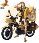 1boy absurdres arm_up breakfast brown_footwear brown_shirt collared_shirt delivery dog food goggles goggles_around_neck ground_vehicle helmet highres holding holding_helmet looking_at_viewer motor_vehicle motorcycle original parted_lips rinotuna salute sandwich shirt shoes short_sleeves shorts smile solo tattoo vest white_shirt yellow_vest