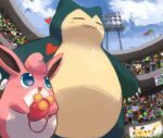 :d blue_eyes blush closed_eyes clouds commentary_request day fangs fangs_out fouinar from_below gen_1_pokemon grass holding open_mouth outdoors pikachu pokemon pokemon_(creature) sky smile snorlax stadium tongue wigglytuff