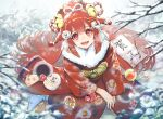 1girl animal_ears bell blue_ribbon bow branch commentary_request eyebrows_visible_through_hair flower fur-trimmed_kimono fur_trim hair_bell hair_bow hair_flower hair_ornament hair_ribbon japanese_clothes kimono long_sleeves looking_at_viewer nanaponi obi open_mouth original outdoors pink_ribbon red_eyes red_kimono red_nails ribbon rope sash shimenawa sitting smile snow solo tagme torii upper_teeth white_flower yellow_ribbon