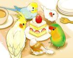 animal animal_focus bird budgerigar_(bird) cake cake_slice circle_formation cockatiel commentary cup finch food food_focus fork fruit java_sparrow looking_at_food lovebird no_humans original parrot plate strawberry strawberry_shortcake torikawawa