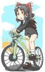 1girl backpack bag bangs bicycle black_hair black_jacket black_skirt blazer blush_stickers bow breasts brown_eyes brown_footwear collared_shirt commentary_request cookie_(touhou) eyebrows_visible_through_hair frilled_bow frilled_hair_tubes frills full_body ground_vehicle hair_bow hair_tubes hakurei_reimu half_updo highres jacket long_sleeves looking_afar mary_janes medium_breasts medium_hair office_lady open_mouth pencil_skirt red_bow riding_bicycle sananana_(cookie) shirt shoes skirt socks solo touhou wand white_legwear white_shirt yin_yang yma