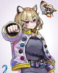 2girls animal_ear_fluff animal_ears arknights backpack bag bangs belt bikini black_jacket chibi chibi_inset clenched_hand closed_mouth eyewear_on_head fang grey_background grey_shirt hair_between_eyes hair_ornament harlequin-wheels hat jacket kamen_rider kamen_rider_fourze_(series) looking_at_viewer medium_hair multiple_girls open_clothes open_jacket rocket shirt smile solo straw_hat sunglasses swimsuit symbol-only_commentary tail upper_body utage_(arknights) utage_(summer_flowers)_(arknights) violet_eyes white_jacket