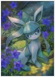 blush border closed_mouth commentary_request flower gen_4_pokemon glaceon grass green_eyes highres kikuyoshi_(tracco) no_humans pokemon pokemon_(creature) purple_flower sitting smile solo toes white_border