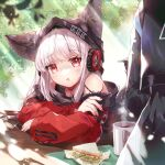 1girl animal_ears arknights arm_support arms_on_table bare_shoulders blush coffee_mug cup dappled_sunlight drooling ears_through_headwear eyebrows_visible_through_hair eyelashes eyes_visible_through_hair food fox_ears frostleaf_(arknights) head_tilt headphones highres leaf light_particles long_hair long_sleeves looking_at_viewer mug nail_polish ninjinshiru parted_lips red_eyes saliva sandwich solo_focus sunlight table white_hair