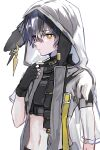 1boy animal_ears arknights asymmetrical_sleeves ayerscarpe_(arknights) bandaid bandaid_on_nose black_gloves black_hair black_shirt bright_pupils closed_mouth commentary crop_top ear_piercing expressionless fingerless_gloves gloves hand_up highres hood hood_up hooded_jacket jacket looking_at_viewer male_focus midriff nanaponi navel orange_eyes piercing rabbit_ears see-through see-through_jacket shirt short_hair short_sleeves solo upper_body white_pupils
