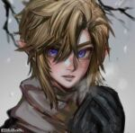 1boy alternate_costume bangs bibabunie black_gloves blue_eyes blush branch breath gloves hair_between_eyes hands_together highres light_brown_hair link male_focus parted_lips pointy_ears portrait scarf snowing solo the_legend_of_zelda the_legend_of_zelda:_twilight_princess twitter_username