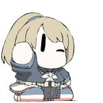 1girl bangs black_jacket blue_footwear chibi collared_jacket cropped_jacket dress flight_deck grey_dress hair_tie hand_up intrepid_(kancolle) jacket kantai_collection light_brown_hair miniskirt neck_pillow neckerchief no_mouth one_eye_closed open_clothes open_jacket ponytail shoes short_hair short_sleeves simple_background skirt solo task_(s_task80) waving white_background white_neckwear white_skirt