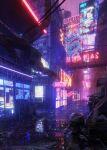 absurdres bridge building city cyberpunk highres huge_filesize neon_lights night no_humans original pipe puddle rain reflection road scenery sign sky skyscraper street trash_bag vending_machine window yamaderakei