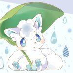 alolan_form alolan_vulpix blue_eyes blush commentary_request gen_7_pokemon highres kana_(maple926) leaf no_humans open_mouth pokemon pokemon_(creature) sitting solo toes