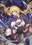 1girl absurdres artoria_pendragon_(caster)_(fate) artoria_pendragon_(fate) bangs belt beret black_gloves black_legwear blonde_hair blue_cape blue_headwear blush breasts buttons cape double-breasted dress fate/grand_order fate_(series) gloves green_eyes hat highres holding holding_staff hood hooded_cape long_hair long_sleeves looking_at_viewer multicolored multicolored_cape multicolored_clothes open_mouth pantyhose red_cape small_breasts solo staff thighs twintails tyone white_dress
