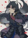 1girl 3pel1 absurdres animal_ears arknights bangs beads black_hair black_kimono dog_ears facial_mark fingerless_gloves forehead_mark gloves grey_background hand_up highres holding holding_weapon japanese_clothes kimono knee_pads leaf long_hair looking_at_viewer one_eye_closed pants polearm prayer_beads purple_pants saga_(arknights) simple_background solo very_long_hair weapon yellow_eyes