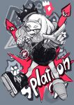 +_+ 1girl black_legwear crown fang full_body grey_background greyscale h@ruichi jewelry looking_at_viewer magenta_color monochrome necklace open_mouth pearl_(splatoon) pointing shoes short_hair smile solo splatoon_(series) splatoon_2 squid thumbs_up