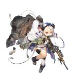 1girl animal_ears animal_nose asymmetrical_legwear black_footwear black_gloves black_headwear black_jacket blue_shorts carrying_over_shoulder costume_request denim denim_shorts douya_(233) drill_hair furrification furry furry_female game_cg girls_frontline gloves green_jacket gun highres holding holding_gun holding_weapon jacket jacket_removed knee_pads leaning_forward long_hair looking_at_viewer micro_shorts midriff mismatched_legwear mk_12_(girls_frontline) mk_12_spr mouse_ears mouse_girl mouse_tail mouth_hold official_alternate_costume official_art open_clothes open_jacket peanut red_eyes seed shirt shorts simple_background single_knee_pad single_sock single_thighhigh socks solo standing sunflower_seed tail thigh-highs thigh_pouch transparent_background twin_drills weapon white_hair white_legwear white_shirt