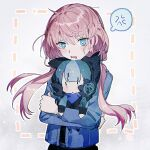 anger_vein animal_ears arknights bangs blue_eyes blue_hair blue_jacket blue_poison_(arknights) blush doll_hug eyebrows_visible_through_hair glaucus_(arknights) highres jacket long_hair long_sleeves low_twintails multicolored_hair parted_lips pink_hair spoken_anger_vein streaked_hair stuffed_toy twintails ye_(ye999999)