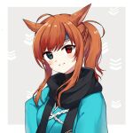 1girl ahoge animal_ears bangs black_scarf blue_kimono blush braid breasts brown_hair cat_ears commentary_request eyebrows_visible_through_hair facial_mark final_fantasy final_fantasy_xiv green_eyes grey_background head_tilt heterochromia japanese_clothes kimono kinatsu_ship long_hair looking_at_viewer miqo'te ponytail red_eyes scarf sidelocks small_breasts smile solo two-tone_background upper_body v-shaped_eyebrows whisker_markings white_background