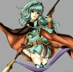 1girl aqua_eyes aqua_hair armor belt brown_gloves cape cosplay earrings eirika_(fire_emblem) ephraim_(fire_emblem) ephraim_(fire_emblem)_(cosplay) eyebrows_visible_through_hair fire_emblem fire_emblem:_the_sacred_stones fire_emblem_heroes gloves grey_background holding holding_lance holding_polearm holding_weapon jewelry lance long_hair looking_at_viewer open_mouth polearm polearm_behind_back ponytail shoulder_armor sidelocks skirt solo tankei_fm thigh-highs weapon