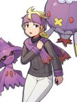 1boy blonde_hair commentary_request drifblim gen_4_pokemon hand_up headband highres holding holding_poke_ball kiwi_of_ruin korean_commentary long_sleeves looking_to_the_side male_focus medium_hair mismagius morty_(pokemon) open_mouth pants poke_ball poke_ball_(basic) pokemon pokemon_(creature) pokemon_(game) pokemon_hgss purple_headband purple_scarf ribbed_sweater scarf simple_background sweater tongue white_background white_pants