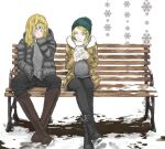2boys 6_9 atouda_ako_(character) bangs beanie bench black_footwear black_jacket black_pants blonde_hair boots brown_coat brown_footwear closed_mouth coat commentary_request cookie_(touhou) full_body green_headwear grey_shirt hat hazuna_rio holding jacket kirisame_marisa knee_boots long_hair long_sleeves looking_at_another male_focus multiple_boys pants shirt sitting smile snow snowflakes touhou yellow_eyes yma