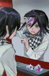 1boy absurdres arm_up bangs black_hair blurry blurry_foreground bottle checkered checkered_scarf dangan_ronpa_(series) dangan_ronpa_v3:_killing_harmony depth_of_field grey_background grey_jacket hair_between_eyes hand_up highres holding holding_bottle jacket long_sleeves looking_at_mirror male_focus mirror open_mouth ouma_kokichi paper purple_hair scarf solo straitjacket sweat tama_rick violet_eyes