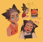 :d aqua_eyes black_gloves blush brown_hair character_request closed_eyes closed_mouth collared_shirt commentary_request drawing fangs fingerless_gloves flying_sweatdrops gender_request gloves heart hood hoodie mutsuki_(gm_tumu) notepad open_mouth orange_headwear orange_shirt pokemon pokemon_(game) pokemon_swsh raihan_(pokemon) red_shirt shirt short_sleeves smile sparkle tongue white_shirt younger