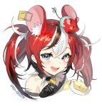 1girl :d absurdres animal_ears bare_shoulders black_choker black_gloves blue_eyes cheese choker earrings extra_ears food gloves hakos_baelz highres hololive hololive_english jewelry long_hair looking_at_viewer mouse mouse_ears mousetrap mr._squeaks_(hakos_baelz) multicolored_hair off_shoulder open_mouth portrait redhead sharp_teeth sidelocks simple_background smile solo soyoong_jun spiked_choker spikes streaked_hair teeth twintails two-tone_hair virtual_youtuber white_background